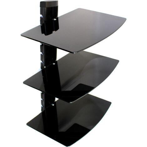 Tempered Black Glass Floating Shelf   M&W 3 Tier