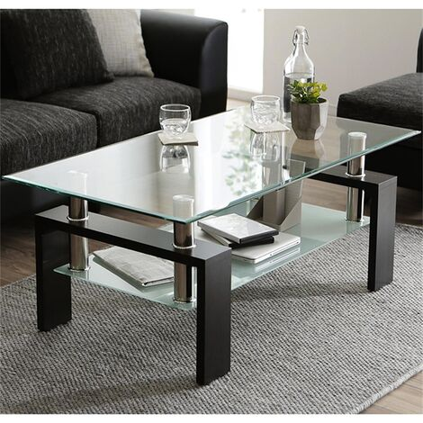 Tempered Glass Coffee Table, Black Modern Rectangle Tea Table with Lower Shelf and Wooden Legs