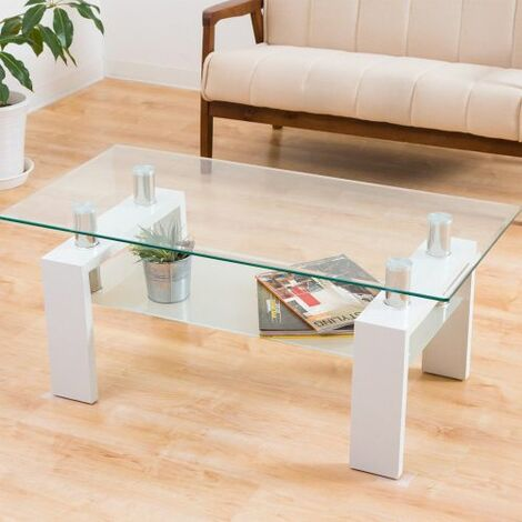 Tempered Glass Coffee Table, Modern Rectangle Tea Table with Lower Storage Shelf and Wood Leg for Living Room, Size:L 100 X W 60 X H 45 cm (White&Clear)