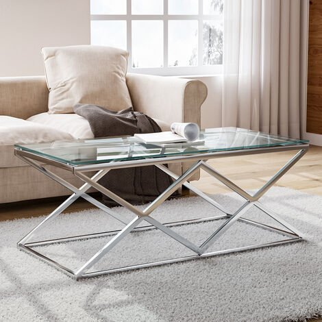 """main image of """"Tempered Glass Coffee Table with Stainless Steel Chrome Legs"""""""