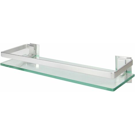 """main image of """"Tempered Glass Shelf with Aluminium Rail   M&W 1 Tier - Clear"""""""