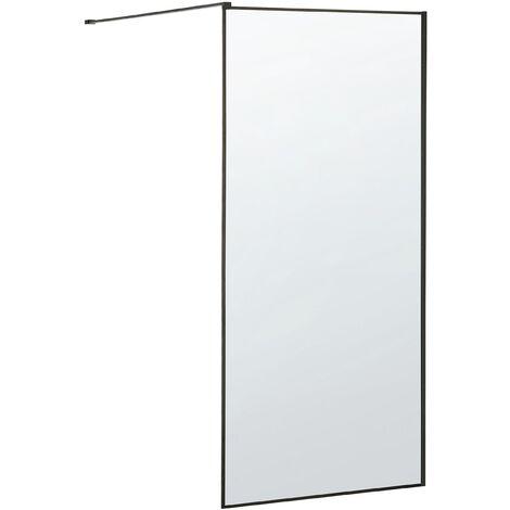 Tempered Glass Shower Screen 90 x 190 cm Black WASPAM