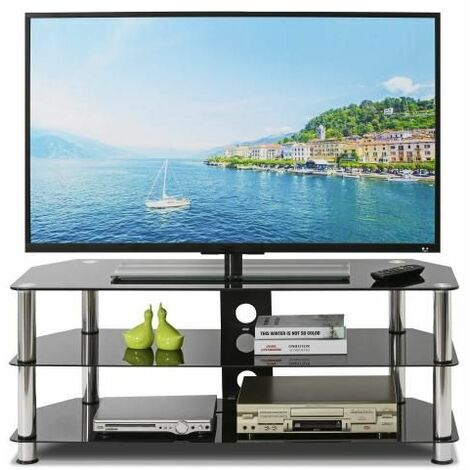 Tempered Glass TV Stand Table Unit Curved Glass Table Televisions for 32-45 inch Plasma/LCD/LED/3D Black (100cm)