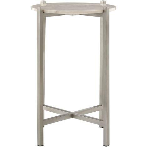 Templar Iron Table, White Marble, Iron