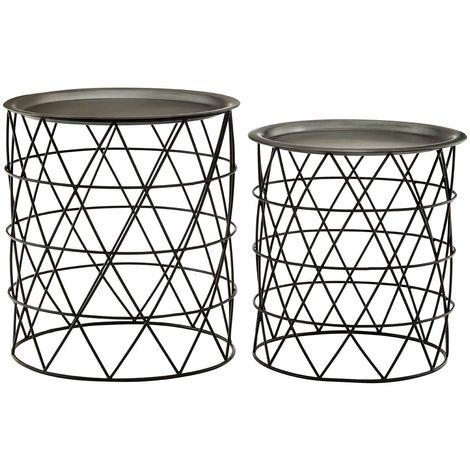 Templar Iron Tables, Zinc/Black, Set of 2