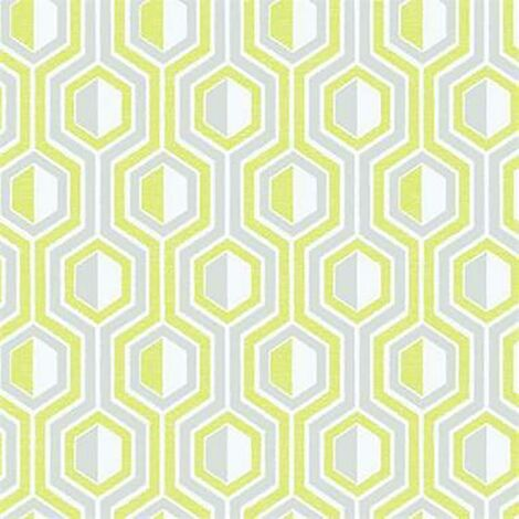 Tempo Geometric Wallpaper Galerie Paste the Wall Green Grey