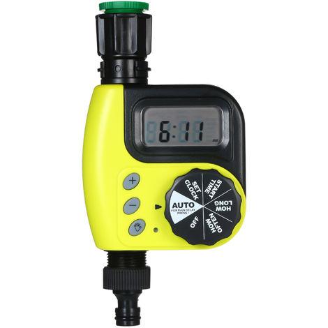 Temporizador de agua automatico, controlador de riego, 1 salida programable, amarillo