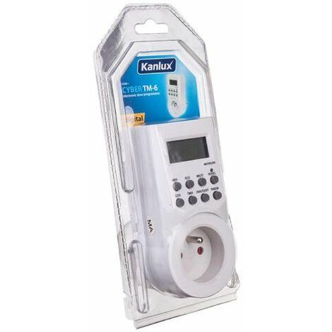 Temporizador electrónico (zócalo) 16A 2P + Z semanal / diario CYBER TM-6 Kanlux 15055