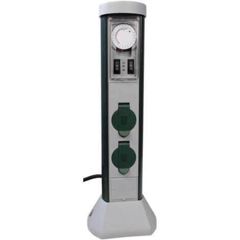 Temporizador mecánico, toma de 2 vías, para uso en exteriores, IP44