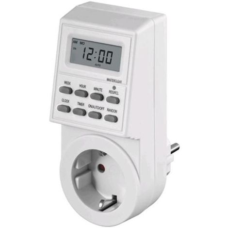 Temporizador programable digital con enchufe IP20 Blanco