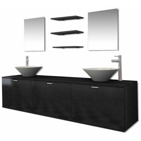 Ten Piece Bathroom Furniture Set with Basin with Tap Black