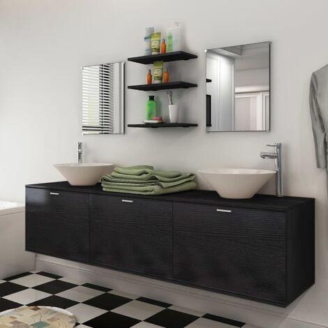 Ten Piece Bathroom Furniture Set with Basin with Tap Black - Black