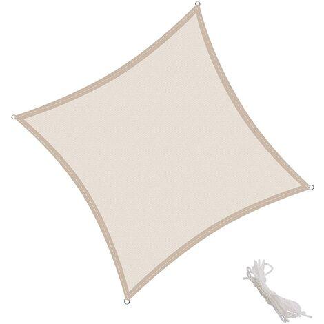 Tenda a Vela Quadrata 2.5x2.5m, Traspirabile HDPE e Resistente agli Agenti Atmosferici, Protezione dai Raggi UV per Giardino, Balcone e Terrazza