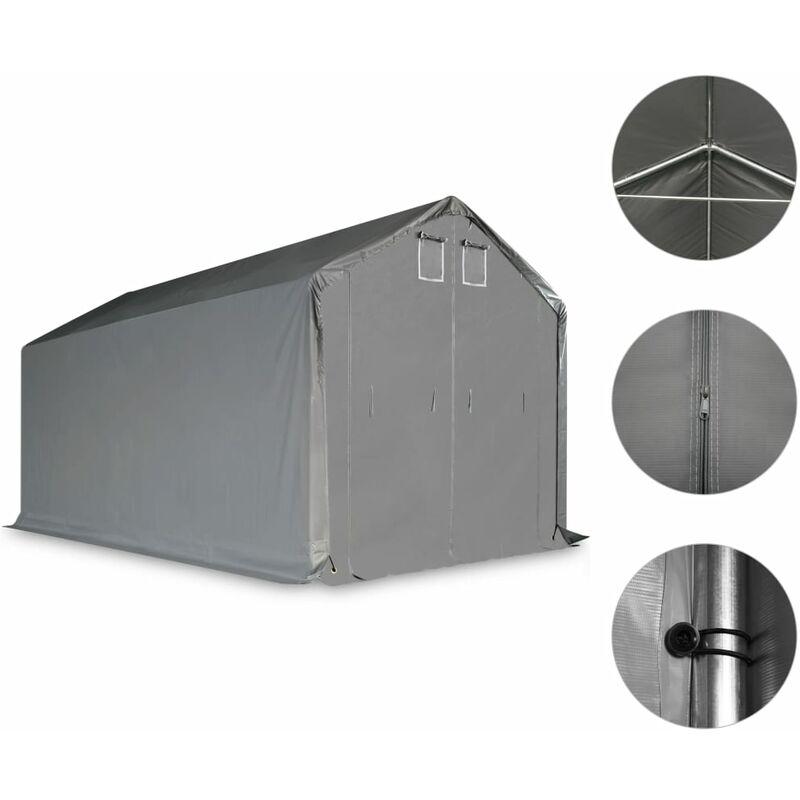 vidaXL Tenda Capannone in PVC 3x6 m Grigio Grigio