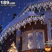 Tenda Cascata Luminosa Bianco Freddo 510x90 cm Prolungabile Fino a 15MT 189 LED