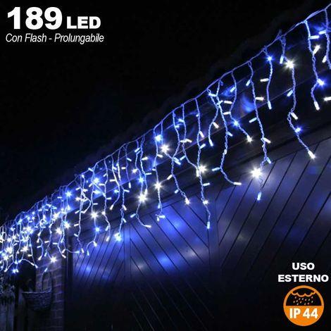 Tenda Cascata Luminosa BLU 510 x 90 cm Esterno Prolungabile Fino a 15MT 189 LED
