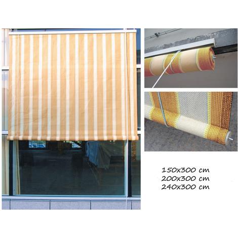 Tenda Da Sole 150x300 A Rullo Avvolgibile Per Esterno Balcone Telo
