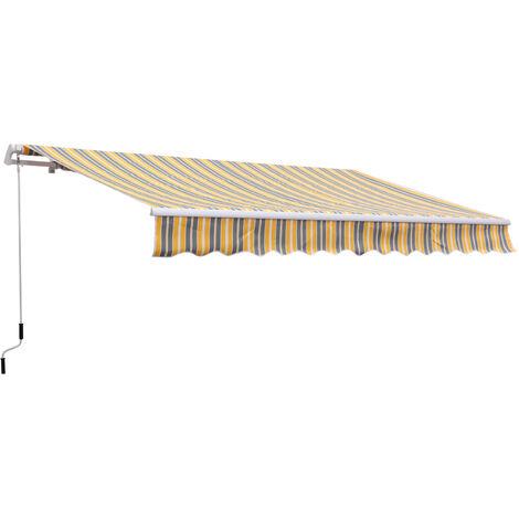 Tenda Da Sole Avvolgibile A Braccio A Parete 3.5m Grigio E Giallo Miozzi