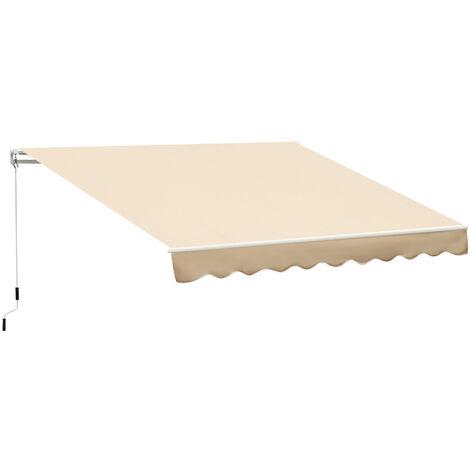 Tenda Da Sole Avvolgibile A Parete 4x2.5m In Poliestere Beige Miozzi