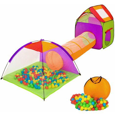 Tenda gioco per bambini con tunnel, 200 sfere e borsa - giocattoli, giochi palline, casetta per bambini