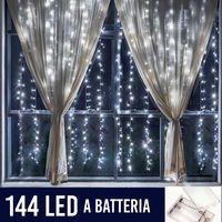 Tenda Luminosa Natalizia per Finestre 144 LED set 2 Tende 120cm Bianco Freddo