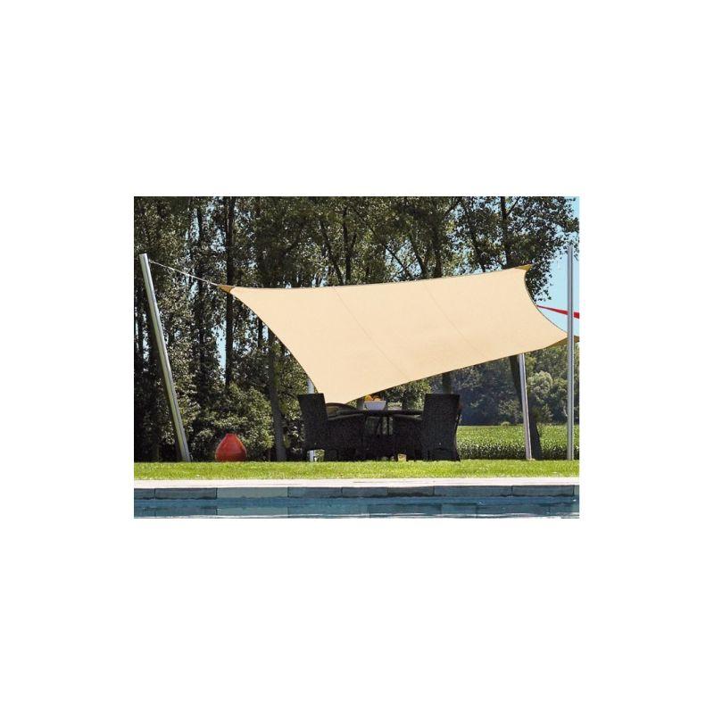 Telo tenda a vela triangolare beige//ecr/ù dimensione lato 5 metri