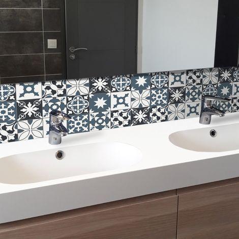 Tendance Ciment bleu | Crédence salle-de-bain en PVC Carreaux de ciment bleus - Lot de 2 bandeaux L70xH30cm