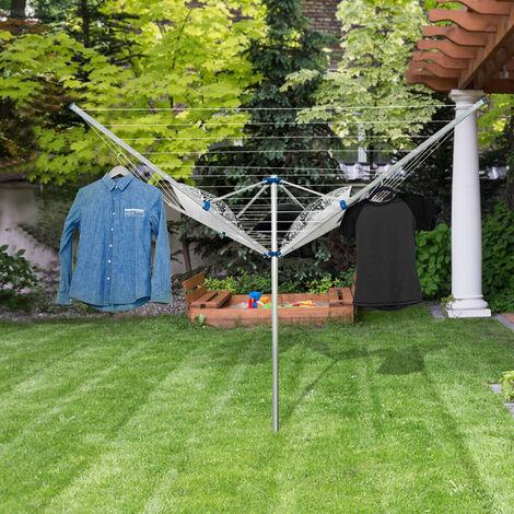 Tendedero Araña Tendedero de Jardín Plegable 180x180x190CM Tendedero de Ropa con 4 Brazos de Aluminio Cuerda de 50 M
