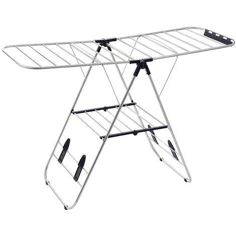 "main image of ""Tendedero multifuncional con alas Plegable Ajustable en altura, 16m de longitud de tendidoTubos de acero inoxidable Plata LLR502 - Plata"""
