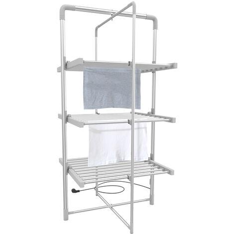 Tendedero Plegable Para Interior, Estante Eléctrico de Lavandería, 3 estantes, Blanco, Tamaño plegado: 143 x 72 x 9 cm