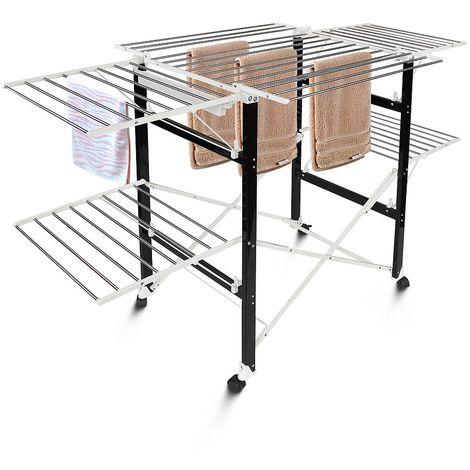 Tendedero Plegable, Tendedero de Ropa Plegable, 174 x 105 x 84 cm, Negro/Blanco, Material: Plástico ABS, Acero inoxidable