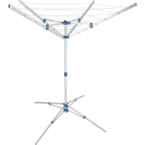 Tendedero portátil - tendedero de ropa extensible, colgador de ropa ajustable giratorio con cuerdas, tendal de ropa con soporte estable - gris