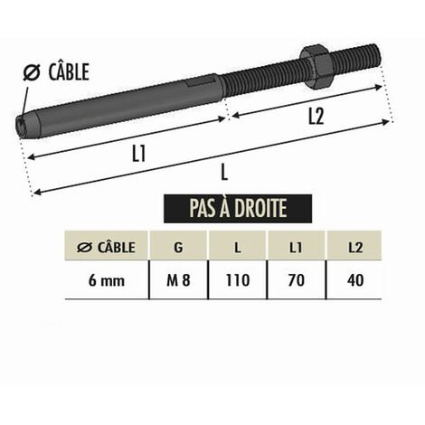 Tendeur à sertir cable Ø6 avec M8 droit