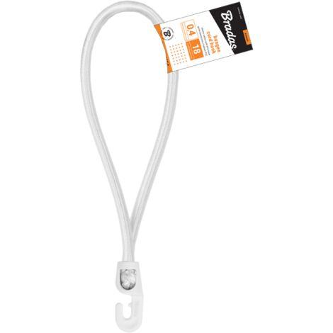 Tendeurs boucle élastique blanc 18 cm ø 4mm avec 1 crochet PVC (lot de 25 pièces)