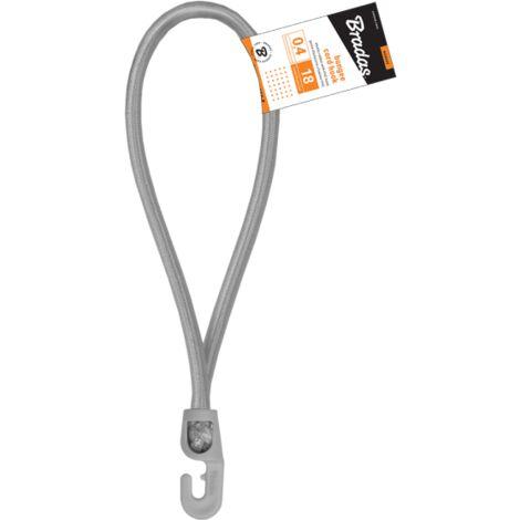 Tendeurs boucle élastique gris 18 cm ø 4mm avec 1 crochet PVC (lot de 25 pièces)