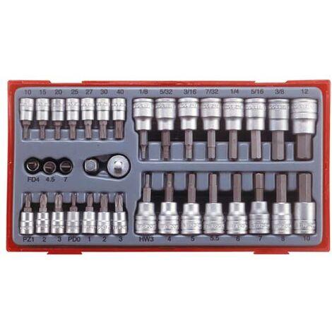 Juego de vasos 1//4 y 3//8 con punta de 35 piezas Tengtools TTBS35