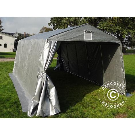 Tente Abri Voiture Garage Basic, 3,3x4,8x2,4m PE, Gris