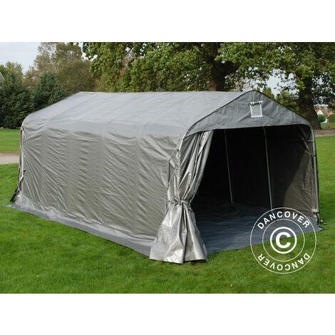 Tente abri Voiture garage PRO 3,6x6x2,7m PE avec couvre-sol, Gris