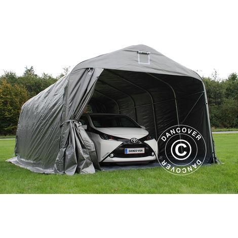 Tente abri Voiture garage PRO 3,6x7,2x2,68m PE avec couvre-sol, Gris