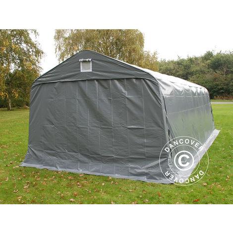 Tente abri Voiture garage PRO 3,6x7,2x2,68m PVC avec couvre-sol, Gris