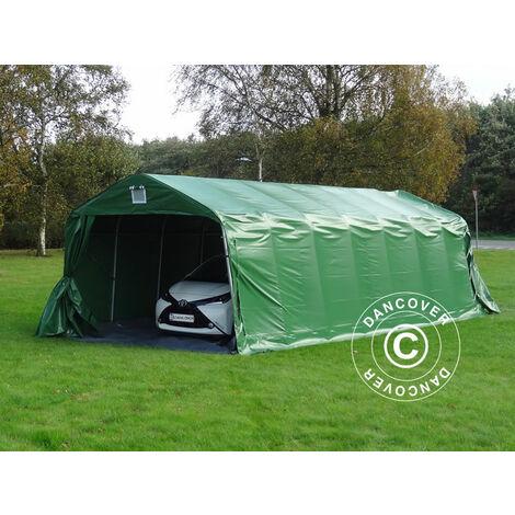 Tente abri Voiture garage PRO 3,6x8,4x2,7m PVC avec couvre-sol, Vert