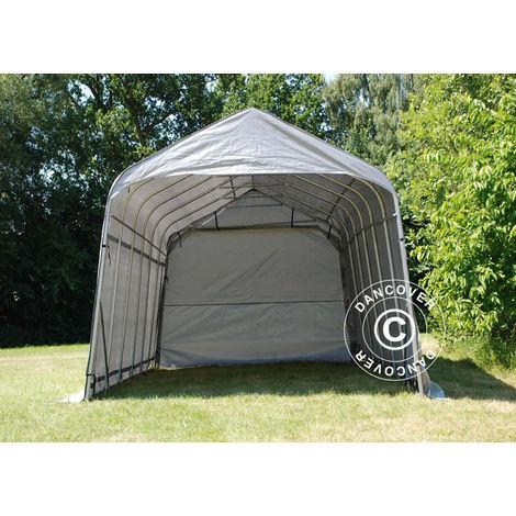 Tente Abri Voiture Garage PRO 3,77x7,3x3,18m PE, Gris