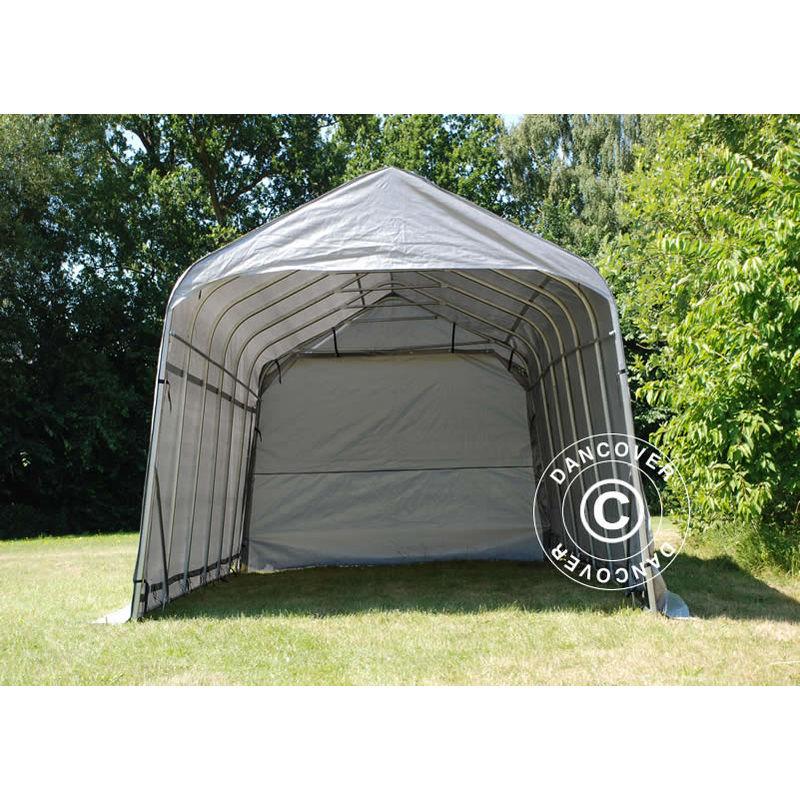 Tente Abri Voiture Garage PRO 3,77x7,3x3,18m PVC, Gris