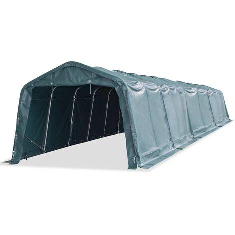Tente amovible pour bétail PVC 550 g/m² 3,3 x 16 m Vert foncé