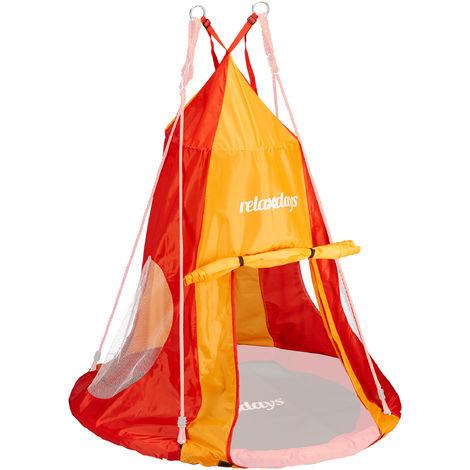 Tente balançoire nid d'oiseau 110 cm accessoire jardin siège rond revêtement, rouge-orange