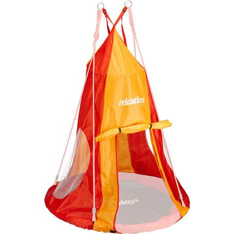 Tente balançoire nid d'oiseau 90 cm accessoire jardin siège rond revêtement, rouge-orange