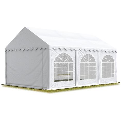 Tente Barnum de Réception 3x6 m ignifugee PREMIUM Bâches Amovibles PVC 500 g/m² blanc Cadre de Sol Jardin
