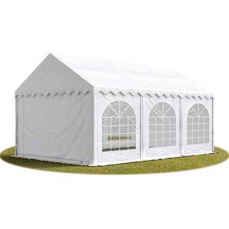 Tente Barnum de Réception 3x6 m PREMIUM Bâches Amovibles PVC env. 500g/m² blanc + Cadre de Sol Jardin