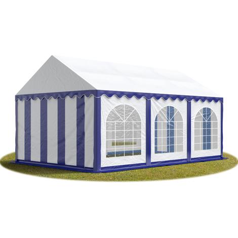 Tente Barnum de Réception 3x6 m PREMIUM Bâches Amovibles PVC env. 500g/m² bleu-blanc + Cadre de Sol Jardin