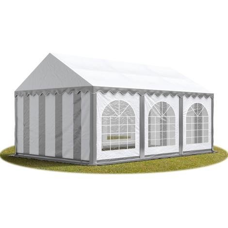 Tente Barnum de Réception 3x6 m PREMIUM Bâches Amovibles PVC env. 500g/m² gris-blanc + Cadre de Sol Jardin